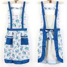 HL Korean Princess Aprons Double Widening Strap Rose Waterproof Aprons (Blue)