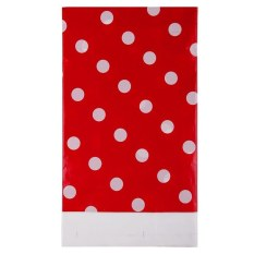 HL Multicolor Dots Pe Catoon Table Cover For Birthday Wedding Decoration Large Size Red