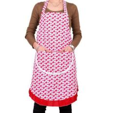 HL Stylish Red Heart Pattern Women Aprons With Pocket