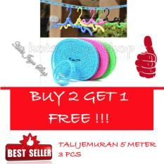 HOKI COD -  Tali Jemuran 5 meter Serbaguna - Baju Handuk Hanger - Gantungan Baju - 3 Piece Multi Colour