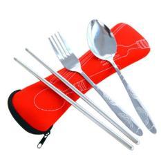 HOLYWINGS - Sendok Makan Travel / Alat Makan Portable STAINLEES STEEL - MERAH (Red)