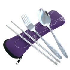 HOLYWINGS - Sendok Makan Travel / Alat Makan Portable STAINLEES STEEL - UNGU (Purple)
