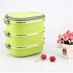 Hot Thermal Insulated Stainless Steel Food Container Lunch Box 3 Layer Double Layer