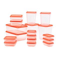 Ikea Pruta Tempat Makanan Set Isi 17 Transparan - Oranye