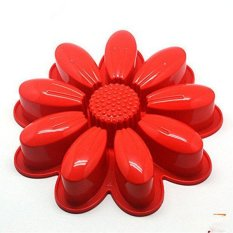 ILife DIY Birthday Cake Chiffon Cake Pastry Cake Mold For Ovens, Silicone Mold Cake Decorating Tools Kitchen Accessories Stencil, Materials: Food-grade Silicone Red Sunflower Red