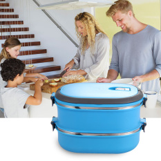 Insulated Lunch Box Food Storage Container Thermo Server (Blue) (Double) (Intl)