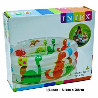 Intex 57106 Baby Pool Dinosaur 3-Ring [61cm x 22cm] / Kolam Mandi