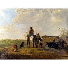 Jiekley Fine Art - Lukisan A Landscape with Horseman, Herders and Cattle Karya Aelbert Cuyp - 1655-1660
