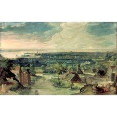 Jiekley Fine Art - Lukisan River Landscape Karya Hans Bol - 1578