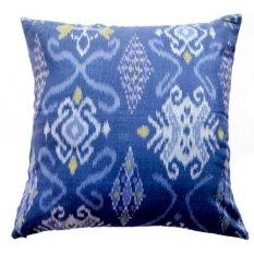 Kadoku Ikat Cushion Cover Sarung Bantal Pillow Cover Bantal Sofa Pillow Case Handwoven Cotton Etnik Katun Biru 50x50