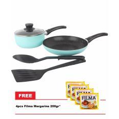 Kangaro KG-676 Allu Cookware Set Free 4pcs Filma Margarine 200gr