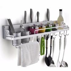 Kitchen Rack Tools Rak Dinding Dapur Aluminium Multifungsi Tempat Bumbu Alat Masak Pisau Sendok Garpu Multi