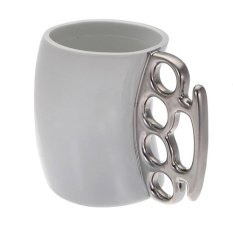 Knuckle Duster Large Mug Fisti Cup Coffee Cup Handle Gift White (Intl)