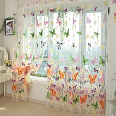 Kupu-kupu cetak kain pual tipis dinding tirai jendela tirai pintu balkon kamar pembagi -