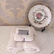 LALANG 2 Pcs Set Coral Velvet Bath Sheet Towel Washcloth Soft Beige