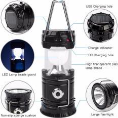 Lampu Emergency Lentera Tarik + Senter + Power Bank - Hitam