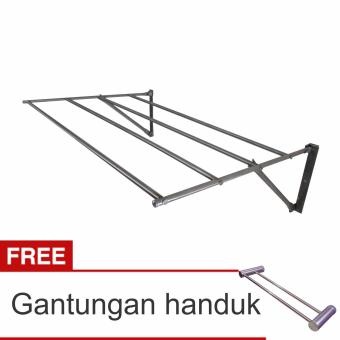 Lanjarjaya Stainless Steel Jemuran Dinding Ukuran 82cm Knock Down +Gantungan Handuk