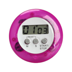 Round Magnetic LCD Digital Kitchen Countdown Timer Alarm with Stand Purple