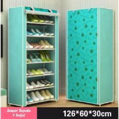 Lemari Rak Sepatu 8 Tingkat 7 Sekat Motif Bunga - Warna Hijau