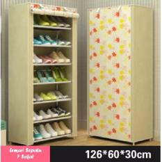 Lemari Rak Sepatu 8 Tingkat 7 Sekat Motif Bunga - Warna Kuning
