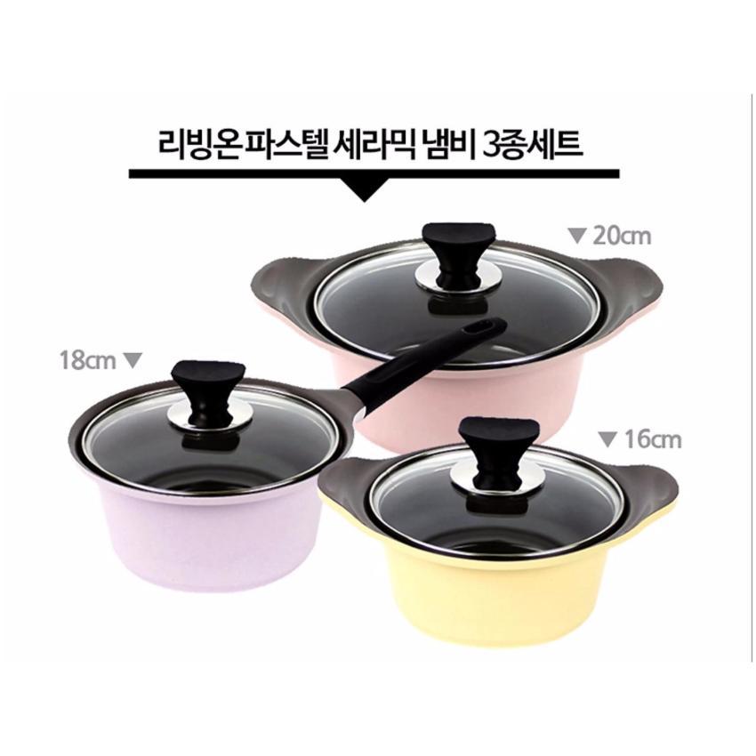Livingon Korean Best-Selling Pastel Ceramic Coating 3 Pots Set. 16 cm + 18 cm + 20 cm - intl