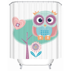 Lovely Owl Bird Animal Style Shower Curtain Mildewproof Waterproof Polyester Fabric Toilet Curtains Set With 12 Hooks W180CM X H200CM - Intl