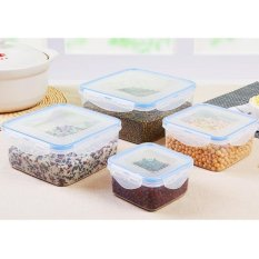 LZ 4Pc Multifunction Plastic Kitchen Food Storage Box Square - Intl