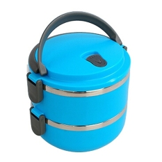 LZ Portable Double Layer Stainless Steel Thermal Insulation Lunch Boxfood Container With Handle (Blue) - Intl