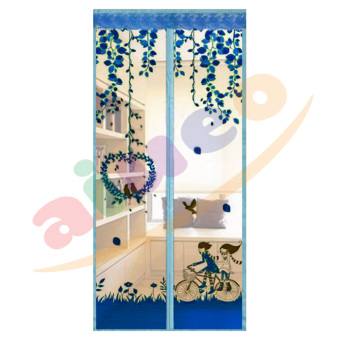 Magic Mesh Tirai Magnet Anti Nyamuk Motif Couple And Bird - Tirai Pintu Magnet - Biru