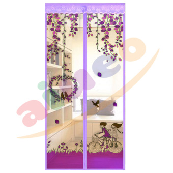 Magic Mesh Tirai Magnet Anti Nyamuk Motif Couple And Bird - Tirai Pintu Magnet - Ungu