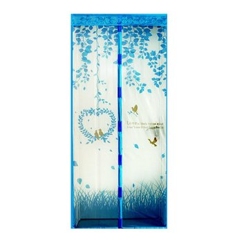 Magic Mesh Tirai Magnet Anti Nyamuk Motif Heart And Bird - Tirai Pintu Magnet - Biru