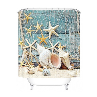 MC Fishing Net Sea Shell Starfish Pattern Polyester Curtain Waterproof Bathroom Shower Curtain Home Decoration 180cm X 180cm - Intl