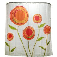 MC Orange Flower Family Bathroom Shower Curtain Simple Polyester 12pcs Ring Pull - Intl