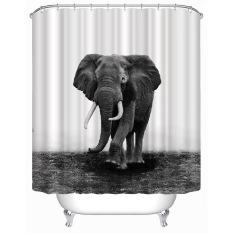 MC Shower Curtain Natural World Elephant Design Shower Bathroom Waterproof Polyester Curtain With 12 Hooks (180*200cm) - Intl