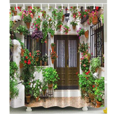 MC Spanish Garden House Shower Curtain Polyester Fabric Flowers Vines Floral Green W / 12pcs Hooks - Intl