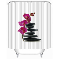 MC Stones Flower Shower Curtain Stylish Family Bathroom Shower Curtain Ring Pull Easy To Install (180 * 180cm) - Intl