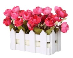 mengyanni Artificial Flowers Small Potted Plant Fake Camellia Sasanqua Set In Picket Fence,wine Red
