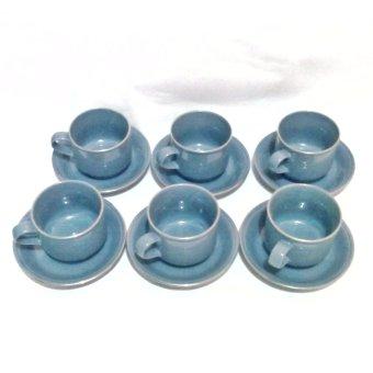 MISTY GREY Ceramic Cup And Saucer Set 12 Pcs