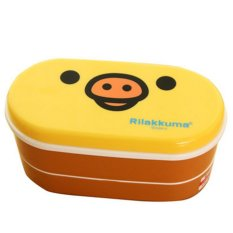 Moonar 800ML Student Lunch Box Double Layer Cute Food Bento Box Newly Plastic Food Storage (Yellow Pig) - Intl