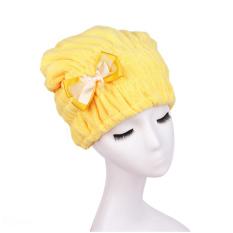 Moonar Quick Hair Drying Bath Spa Bowknot Wrap Towel Hat Cap Yellow
