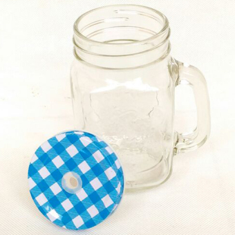 Mug Jar With Straw Hole - Biru