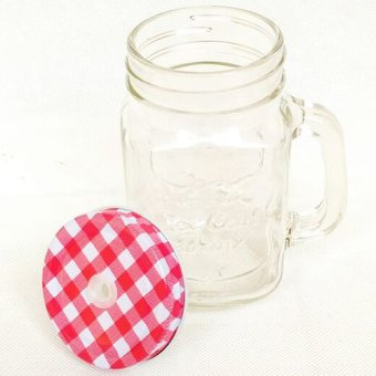 Mug Jar With Straw Hole - Merah