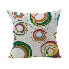 Multicolor Rings Linen Pillow Case Cushion Cover Cotton Throw Pillow Case Home D??cor