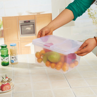Multifunction Food Storage Box Clamshell Bucket Millet - Transparent White