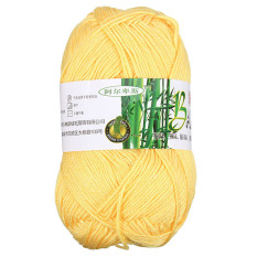 Natural Bamboo Cotton Knitting Soft Yarn Fingering Golden Yellow