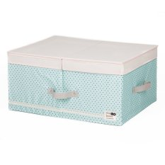 New Art Design Wommen' Fashion Cosmetic Clothing Storage Box Double Barrier Double Cover Beauty Case Boxes For Home 48x36x18cm (Light Blue)