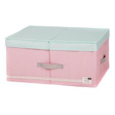 New Art Design Wommen' Fashion Cosmetic Clothing Storage Box Double Barrier Double Cover Beauty Case Boxes For Home 48x36x18cm (Pink)