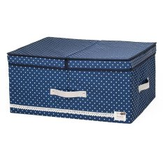 New Art Design Wommen' Fashion Cosmetic Clothing Storage Box Double Barrier Double Cover Beauty Case Boxes For Home -Blue 48x36x18cm