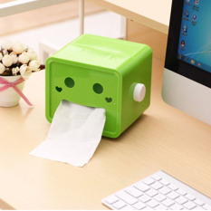 New Creative Green Rotatable Smile Cute Cartoon Paper Box Cover Case Holder Home Decoration 2 ColorsGreen (Intl)