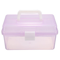 New Multi-function Plastic 2 Layer Storage Containers Case Box Organizer Tool Light Purple